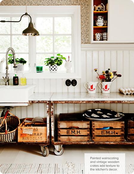 cajas recicladas en cocina vintage rustica